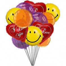 Smiles & love Balloons (6-Mylar & 6-Latex Balloons)