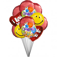 Love & Smile Balloons (6-Mylar & 6-Latex Balloons)