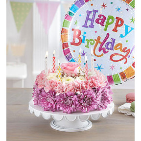 Birthday Wishes Flower Cake Pastel (Small with Balloon)