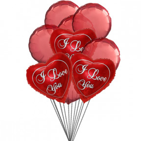 Love you Balloon Bouquet (6-Mylar & 6-Latex Balloons)