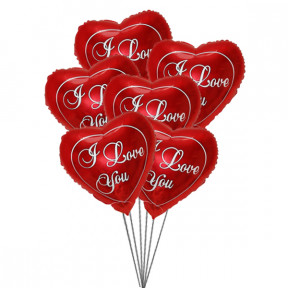 Love you Balloon Bouquet (6 Mylar Balloons)