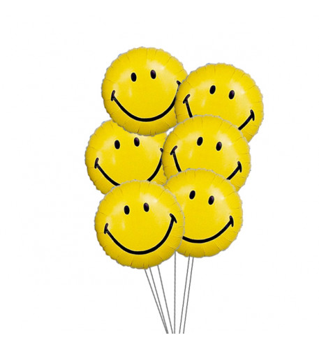 Wide smile balloons (6 Mylar Balloons)