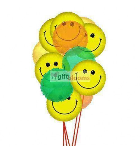 Wide smile balloons     (  6 Mylar  and 6-Latex Balloons )