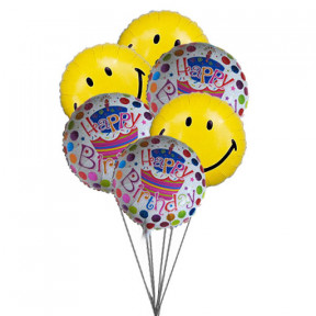 Smiley blue birthday balloons (6  Mylar Balloons)