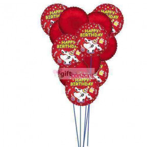 Happy birthday balloons with colour of love    (  6Mylar and 6-Latex Balloons )