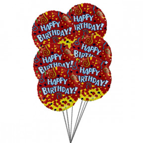Happy birthday balloons with colour of love(6 Mylar Balloons)