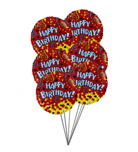 Happy birthday balloons with colour of love (6-Mylar & 6-Latex Balloons)