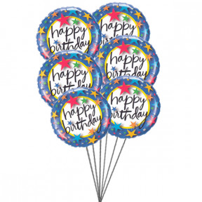 Pinkish Balloons saying Happy Birthday (6 Mylar Balloons)
