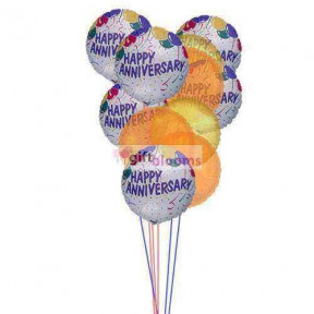 Balloons of wishing happy anniversary   ( 6 Mylar & 6 Latex Balloons )