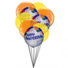 Balloons of wishing happy anniversary (3 Latex & 3 Mylar Balloons)