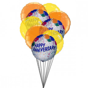 Balloons of wishing happy anniversary(6 mylar Balloons)