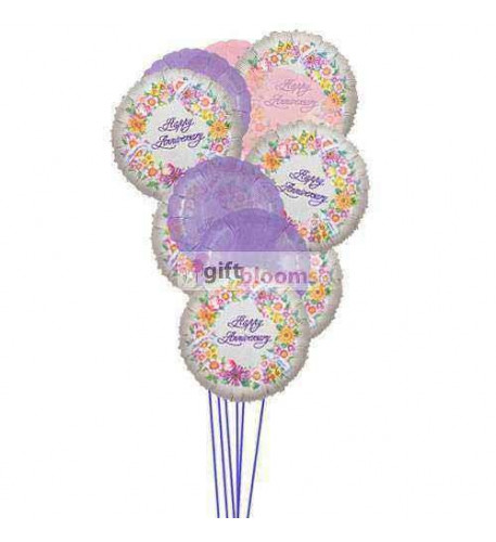 Cheerful anniversary balloons  ( 6 Mylar & 6 Latex Balloons )