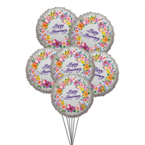Cheerful anniversary balloons (6 Latex & 3-Mylar Balloons)