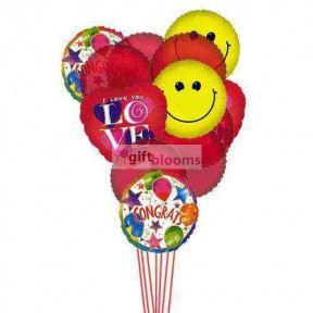 Love & Smile Balloons ( 6 Mylar & 6 Latex Balloons )