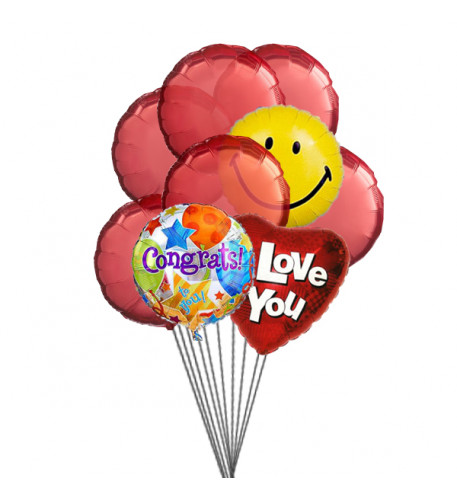 Love & Smile Balloons ( 6 Latex & 3-Mylar Balloons)