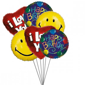 Birthday bash balloons full of love,smile & wishes (6 Mylar Balloons)