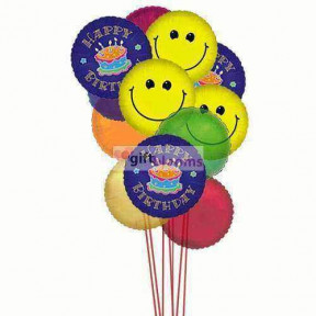 Smiley balloons wishing you happy birthday    (  6-Latex Balloons )