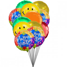 Smiley balloons wishing you happy birthday (6 Latex & 6-Mylar Balloons)