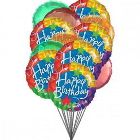 Cheerful happy birthday balloons (6-Mylar & 6-Latex Balloons)