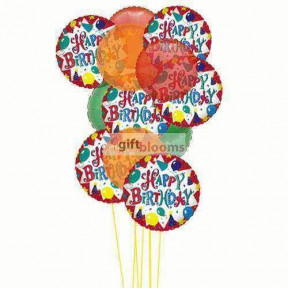Cheerful happy birthday balloons    (  6-Latex Balloons )