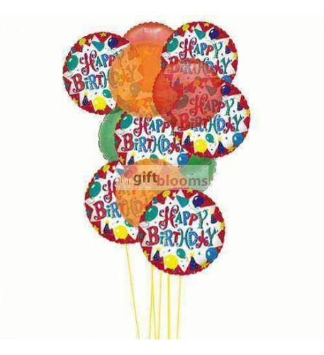 Cheerful happy birthday balloons ( 6 Mylar & 6 Latex Balloons )