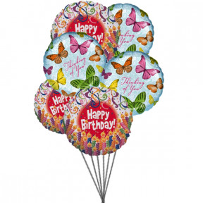 Balloons full of excitement(6 Mylar Ballons)