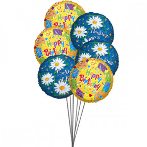 Sweet yellow birthday Balloons (6 Mylar Balloons)