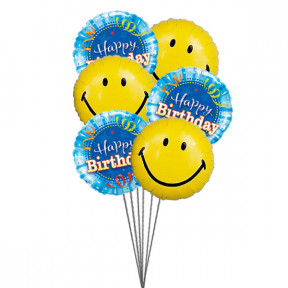 Smiley Birthday Balloons (6 Mylar Balloons)