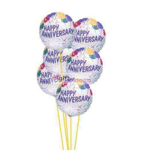 Anniversary wishes ballons    (  6-Mylar Balloons )
