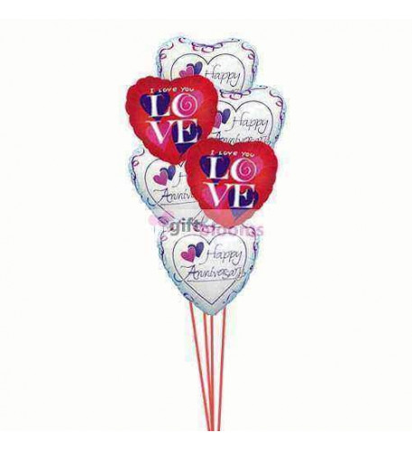 Balloons bouquet of love  ( 6 Mylar Balloons )