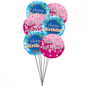 Bunch of lovely happy birthday balloons ( 6 Mylar Balloons)