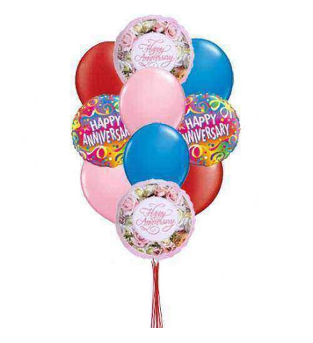 Bunch of Happy Anniversary    (  4 Mylar  and 6-Latex Balloons )