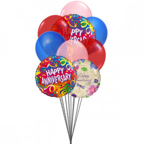 "Bunch of ""Happy Anniversary"" (3-Mylar & 6-Latex Balloons)"