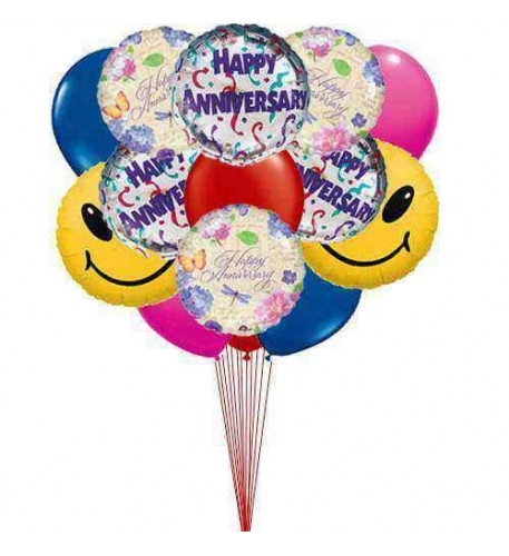 Happy anniversary balloons  (8 Mylar Balloons and 4 Latex Balloons )
