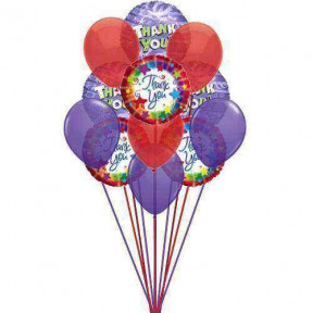 Bunch of THANK YOU balloons  ( 6 Mylar  and   6-Latex Balloons )