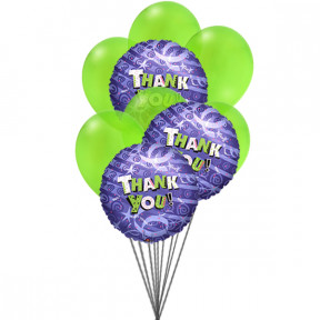 Bunch of Thanks (6-Mylar & 6-Latex Balloons)