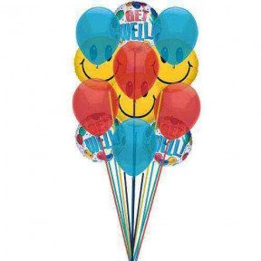 Grouped getwell balloons    (  3 Mylar Balloons )