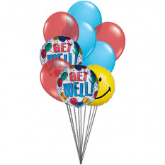 Getwell smiley balloons (3 Latex & 3 Mylar Balloons)