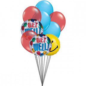 Getwell smiley balloons (6 Latex & 3-Mylar Balloons)