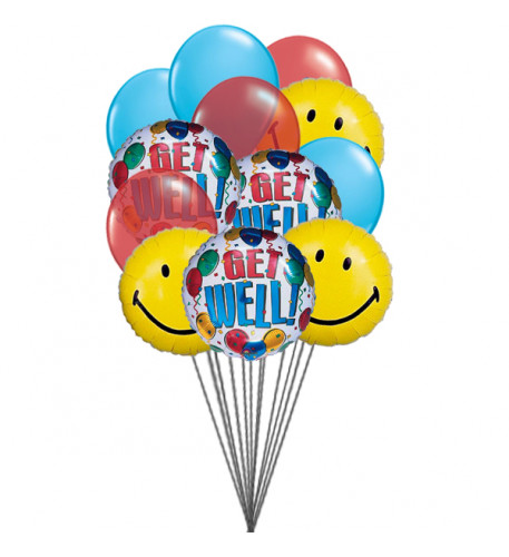 Getwell smiley balloons (6-Mylar & 6-Latex Balloons)