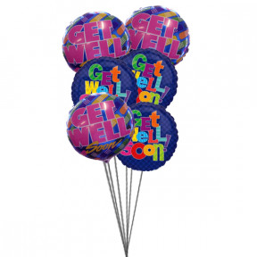 Bunch of Get well Soon Balloons ( 6 Mylar Balloons)