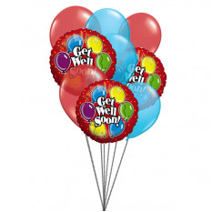 Get well Soon wishes (3 Latex & 3 Mylar Balloons)