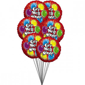 Get well Soon wishes ( 6 Mylar Balloons)