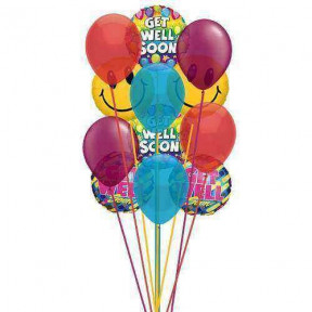Smile and  wish Get well     (  3 Mylar Balloons )