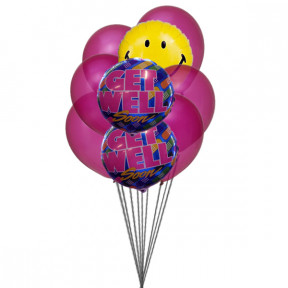 Bunch of smile with Get well Soon Balloons( 6-Mylar & 3-Latex Balloons )
