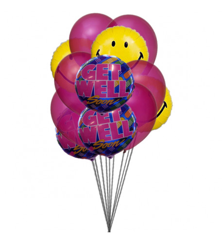 Bunch of smile with Get well Soon Balloons (6 Mylar & 6 Latex Balloons)