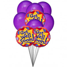 Purply getwell balloons (3 Latex & 3 Mylar Balloons)