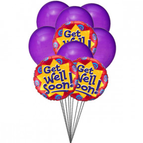 Purply getwell balloons (6 Latex & 3-Mylar Balloons)