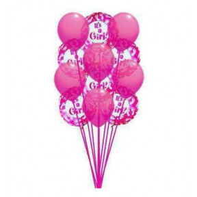 Pinkish  balloons    ( 6 Mylar and  6-Latex Balloons )