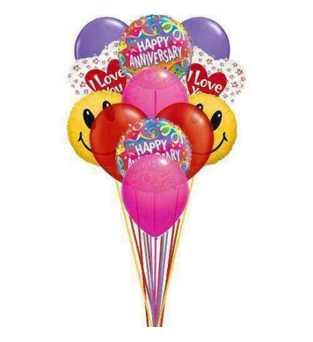 Lovely anniversary  balloons    (6 Mylar and   6-Latex Balloons )